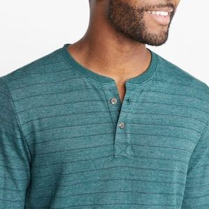Marine Layer Henley LS Men's Green blue stripe Med